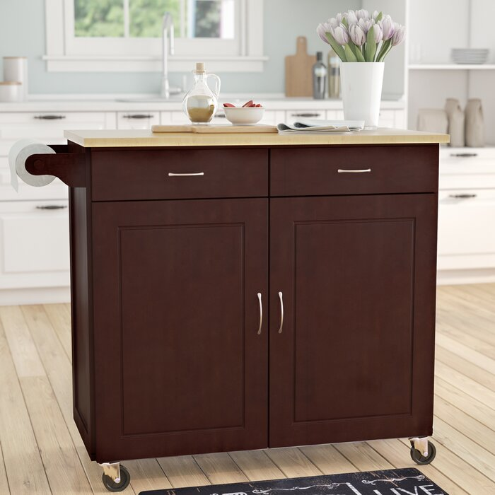 Sammons Kitchen Island Solid Wood Top