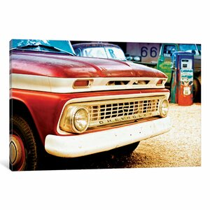 Classic Chevrolet Grill at U.S Route 66 Fill-Up Station Photographic Print on Wrapped Canvas by East Urban Home
