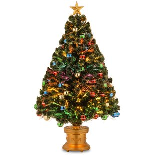 fiber optics firework 4 green spruce trees artificial christmas tree with multi colored lights with stand