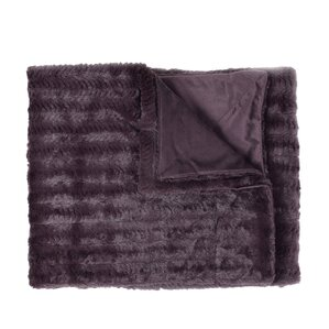 Rib Decorative Reversible Faux Fur and Mink Throw Blanket