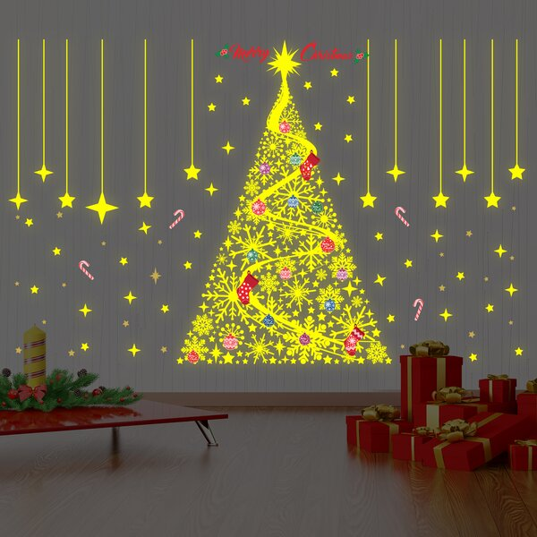 The Holiday Aisle Merry Christmas Magical Glow in Dark Snowflakes ...
