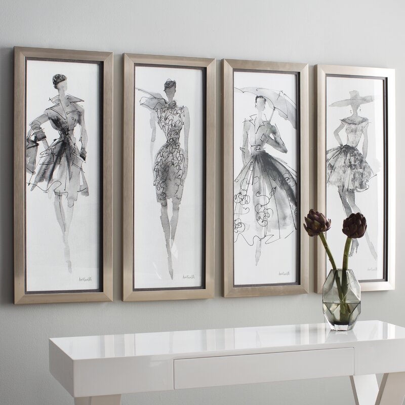 Fashion Sketchbook Framed Graphic Art Set