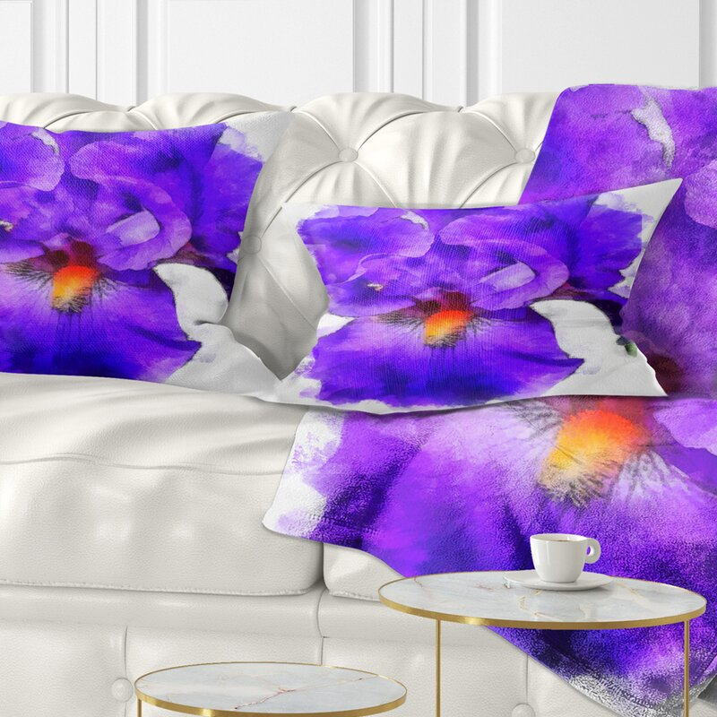East Urban Home Floral Iris Flower Sketch Watercolor Lumbar Pillow Wayfair