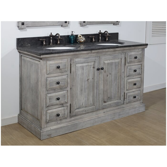 Wayfair Bathroom Vanity >> Carlton 60 Rustic 2 Sink Bathroom Vanity Set