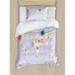 playroom retro style world map with soft pastel tone blooms kids girls atlas illustration duvet set
