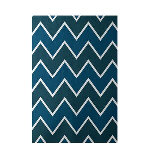 Budget Chevron Hand-Woven Teal Indoor/Outdoor Area Rug By e By  design