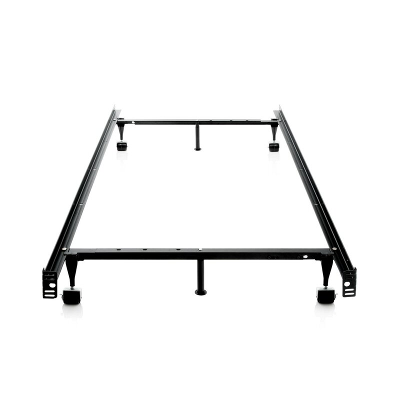 Symple Stuff Heavy Duty 7-Leg Adjustable Metal Bed Frame with Center ...