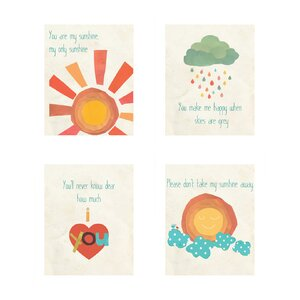 Lakisha 4 Piece You Are My Sunshine Print Children's Wall Art Set by Viv + Rae