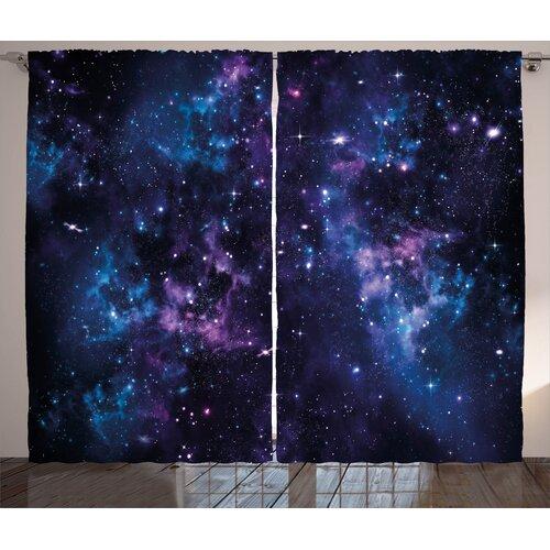 Sky Stars Space Pinch Pleat Room Darkening Thermal Curtains