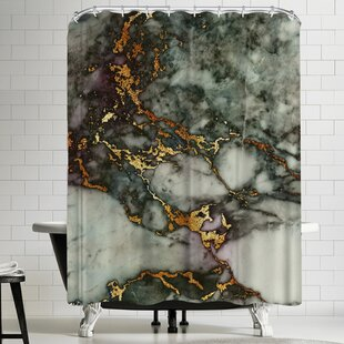 Find Grab My Art Luxury Green And Gold Glitter Gem Agate And Marble Texture Shower Curtain ByEast Urban Home