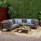 Ellison 4 Piece Sectional Seating Sofa Set with Cushions by Highland Dunes