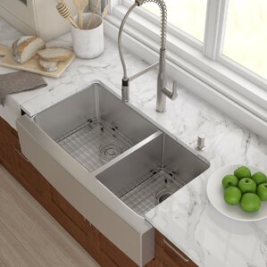 stainless steel 3588x 2075 double basin farmhouse kitchen sink with noisedefend soundproofing. beautiful ideas. Home Design Ideas