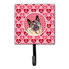 Norwegian Elkhound Valentine's Love and Hearts Leash Holder and Key Hook by Caroline's Treasures