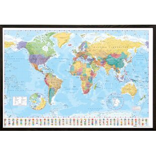 World map wall art world map framed graphic art print poster gumiabroncs Image collections