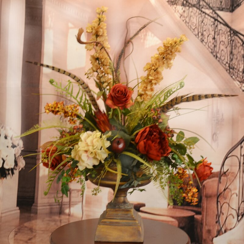 Floral home decor large silk flower arrangement with feathers large silk flower arrangement with feathers mightylinksfo