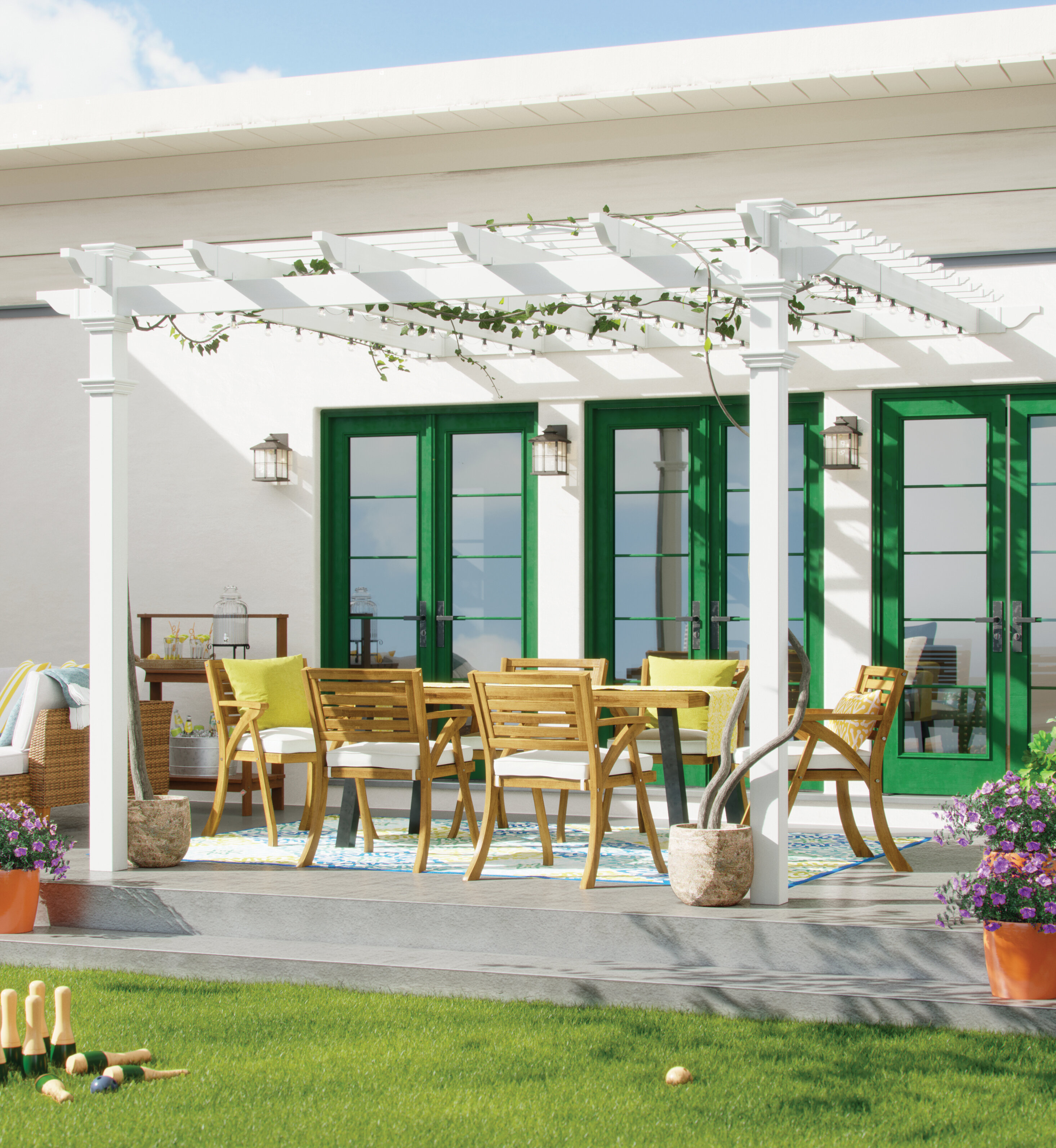 a vine-covered white pergola over an outdoor dining set