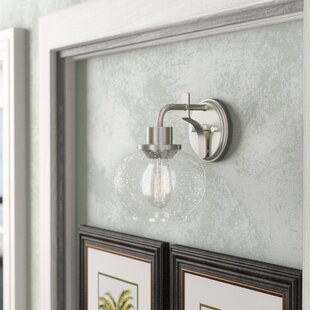 Great choice Wiesner Satin Nickel and Seeded Glass 1-Light Armed Sconce By Breakwater Bay