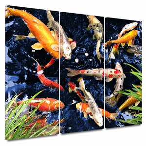 'Koi' by George Zucconi 3 Piece Photographic Print on Wrapped Canvas Set by ArtWall