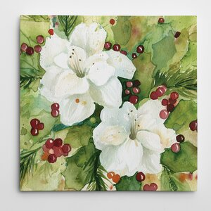 'Watercolor Holly' Painting Print on Wrapped Canvas by The Holiday Aisle