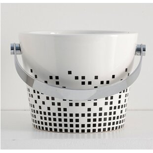 Compare prices Bucket Ceramic Circular Vessel Bathroom Sink with Overflow ByScarabeo by Nameeks