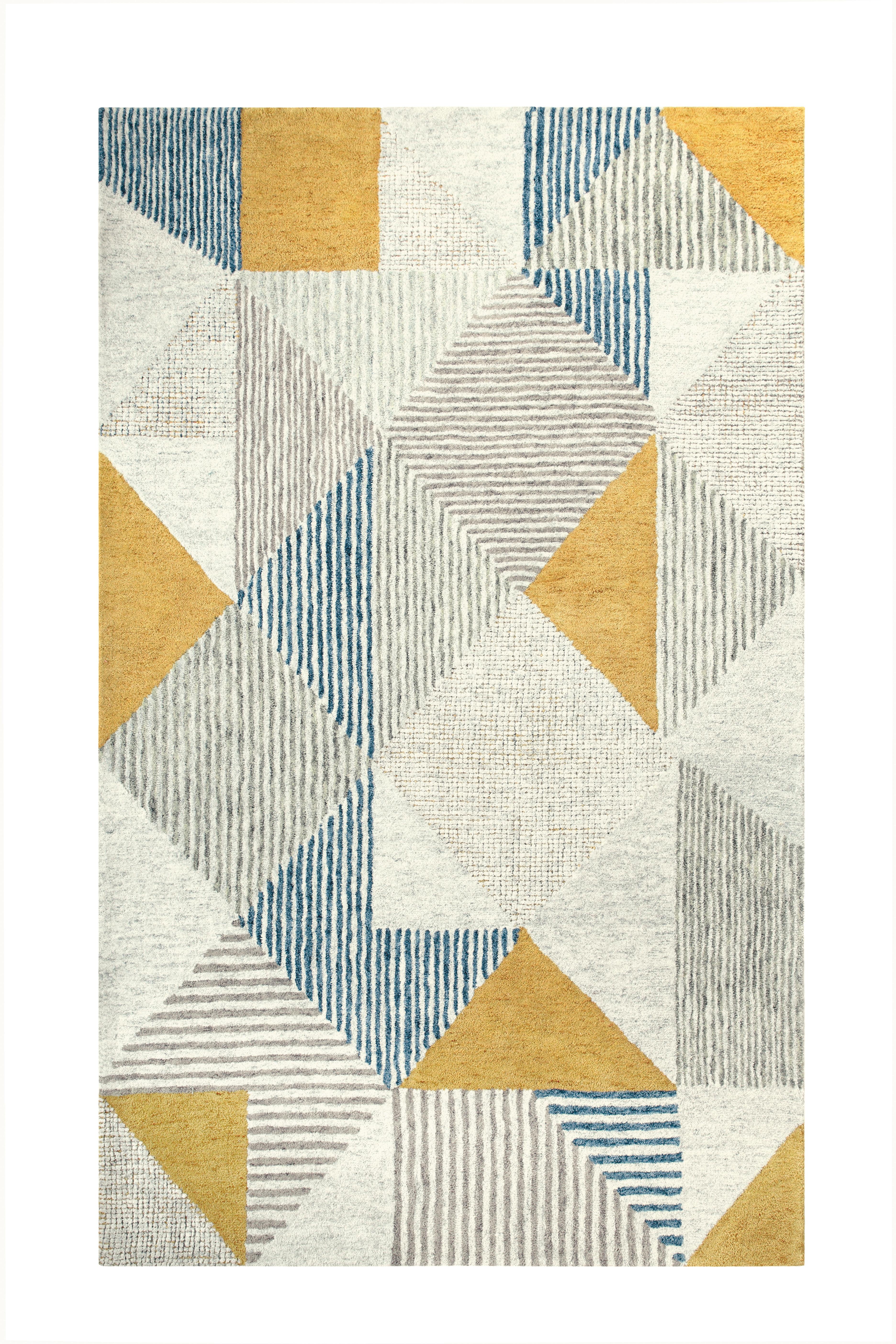 Companyc Griffin Geometric Handmade Tufted Wool Blue Gray Yellow Area Rug Wayfair