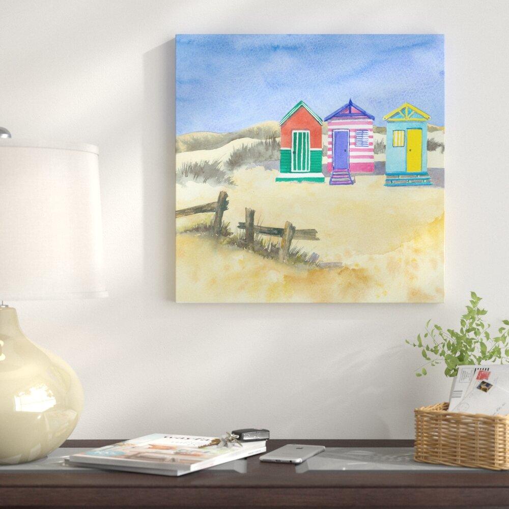 Seascape Beach Hut Blue Green Paradise Landscape Wall Art Picture Home Decor
