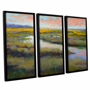 'A Glimmer on the Marsh' Painting Print Multi-Piece Image on Canvas by Laurel Foundry Modern Farmhouse