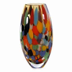 Carnival Confetti Hand Blown Art Glass Vase