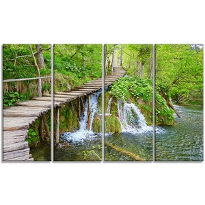 'Cascades in Plitvice Lakes' 4 Piece Photographic Print on Wrapped Canvas Set by Design Art