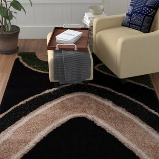 Buy clear Bishop Shag Hand-Woven Black Area Rug By Winston Porter