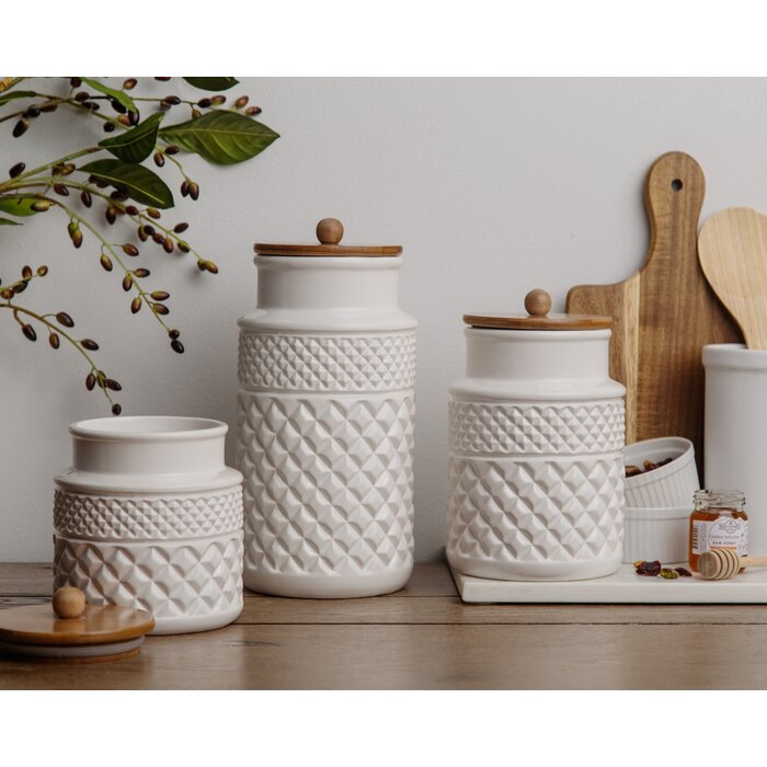 Faceted 3 Piece Kitchen Canister Set