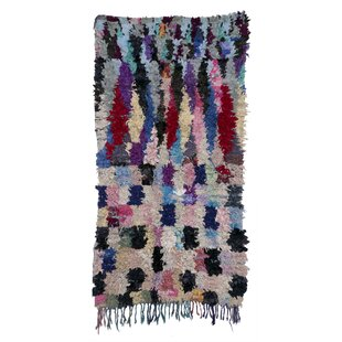 Check Prices Boucherouite Azilal Hand-Woven Blue/Ivory Area Rug ByCasablanca Market