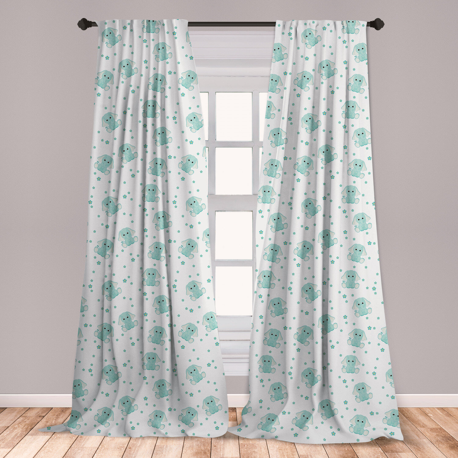 Picture of: East Urban Home Ambesonne Elephant Curtains Baby Animal Characters With Long Ears And Daisy Blossoms Kids Window Treatments 2 Panel Set For Living Room Bedroom Decor 56 X 63 Mint Green White