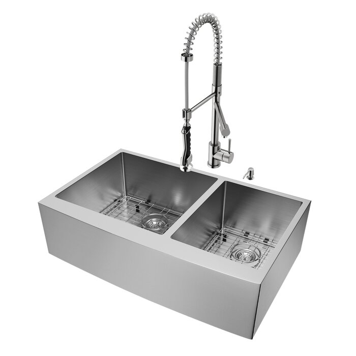 Chisholm 36 inch Farmhouse Apron 60/40 Double Bowl 16 Gauge Stainless Steel  Kitchen Sink with Zurich Stainless Steel Faucet, Two Grids, Two Strainers  ...