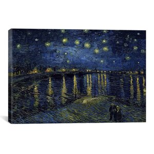 'Starry Night over the Rhone' by Vincent Van Gogh Painting Print on Canvas by iCanvas