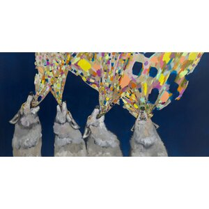 Four Wolves Howling by Eli Halpin Graphic Art on Wrapped Canvas by GreenBox Art