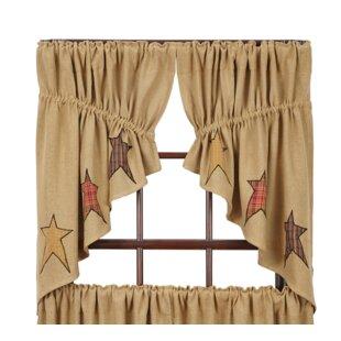 Mclaren Burlap Applique Star Prairie Kitchen Curtains (Set Of 2)
