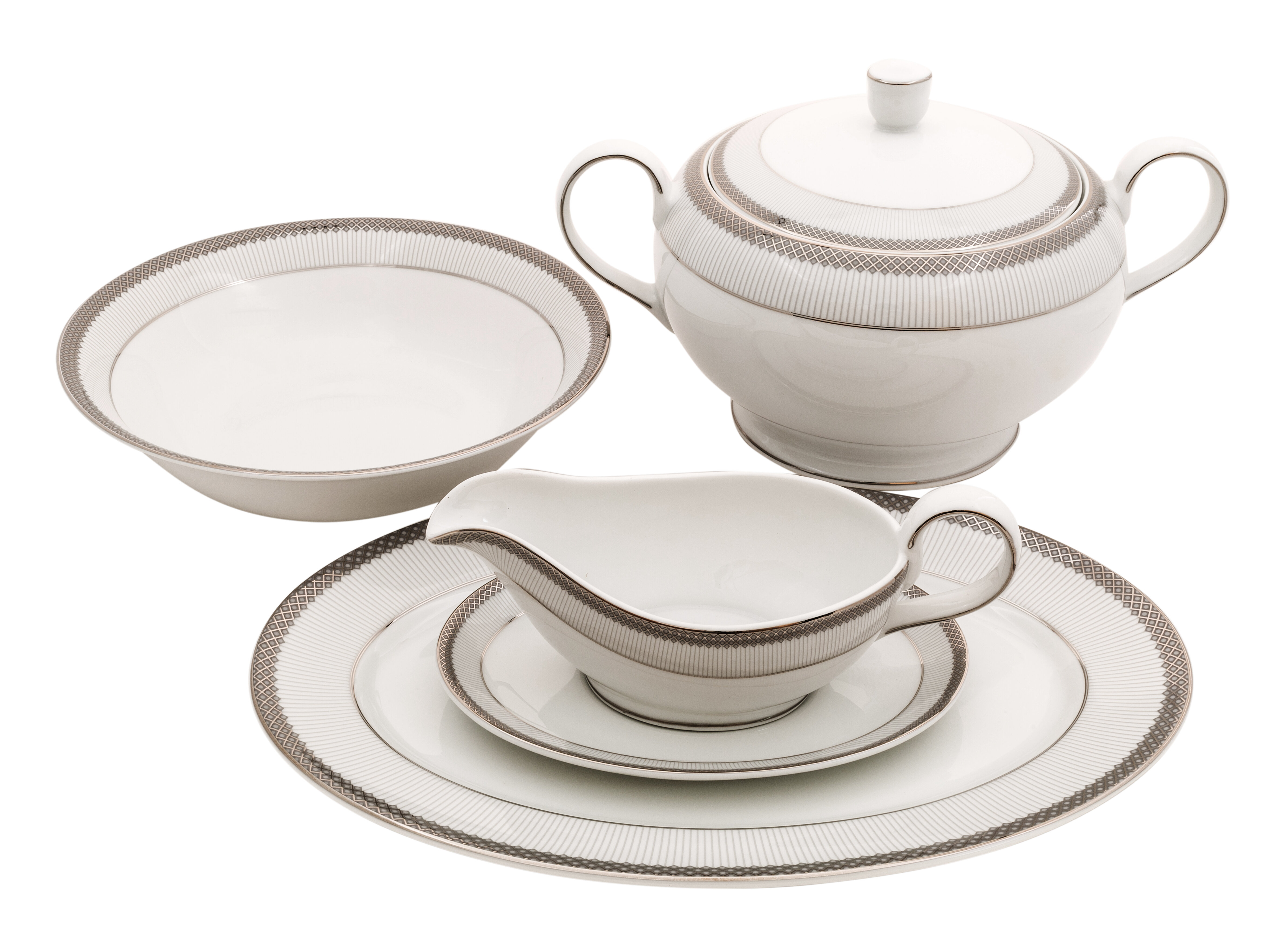 Shinepukur Ceramics USA Inc. Diamond Fine China Special Serving 5 Piece Dinnerware Set | Wayfair  sc 1 st  Wayfair & Shinepukur Ceramics USA Inc. Diamond Fine China Special Serving 5 ...