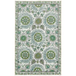 Lagouira Suzani Leaf Cream/Lime/Teal Area Rug