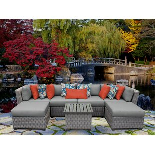 Florence 7 Piece Rattan Sectional Seating Group with Cushions ByTK Classics