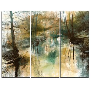 River and Trees Oil Painting - 3 Piece Graphic Art on Wrapped Canvas Set by Design Art