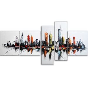 'Colors of the City' 5 Piece Graphic Art on Wrapped Canvas Set by Zipcode Design