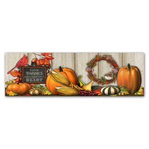 'Give Thanks with a Grateful Heart' Graphic Art Print on Wrapped Canvas by Trademark Fine Art
