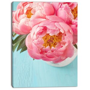 'Bunch of Light Pink Peony Flowers' Photographic Print on Wrapped Canvas by Design Art