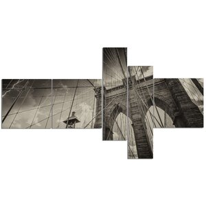 'Upward View of Brooklyn Bridge' Photographic Print Multi-Piece Image on Canvas by East Urban Home