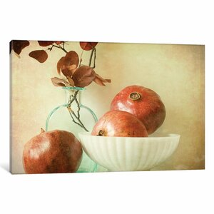 Pomegranates and Milk Glass by Olivia Joy Photographic Print on Wrapped Canvas by Three Posts