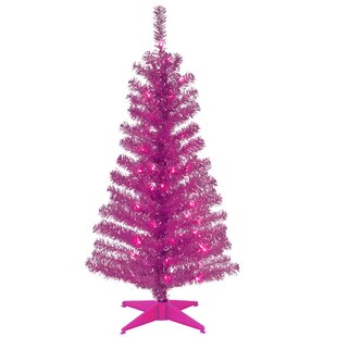 Tinsel Trees 4 Pink Artificial Christmas Tree With Plastic Stand