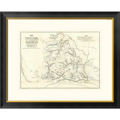 """Civil War Map of The Field of Shiloh, Near Pittsburgh Landing, Tennessee, 1862 by Otto H. Matz Framed Graphic Art Global Gallery Size: 26"""""""" H x 32"""""""" W x -  DPF-295148-22-296"""