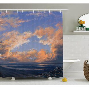 Lorie Scenery Clear Open Sky Landscape Sunset With Clouds Beams Ocean and Cliff Print Shower Curtain ByHighland Dunes