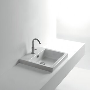 Read Reviews Whitestone Ceramic Square Drop-In Bathroom Sink with Overflow By WS Bath Collections